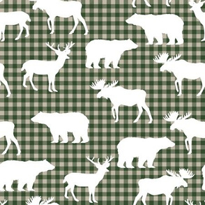 buffalo plaid animals fabric - hunter green and tan