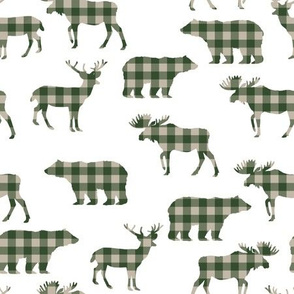 buffalo plaid animals fabric - hunter green on white