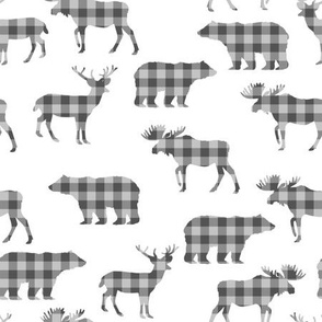 buffalo plaid animals fabric - grey plaid on white