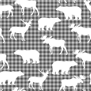buffalo plaid animals fabric - grey plaid
