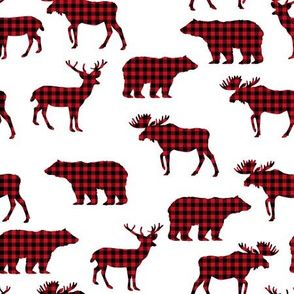 buffalo plaid animals fabric - red and black plaid on white