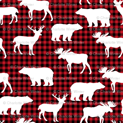 buffalo plaid animals fabric - red and black plaid