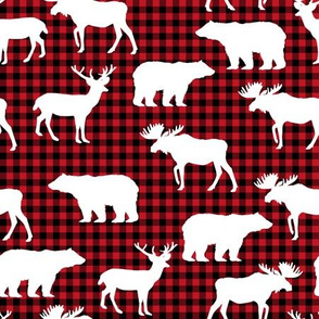 buffalo plaid animals fabric - red and black plaid