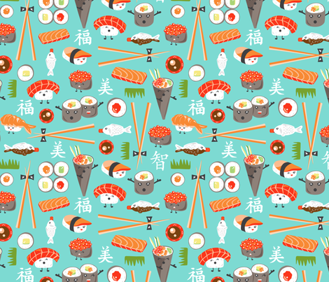 Happy Sushi - Kawaii fabric by heatherdutton on Spoonflower - custom fabric