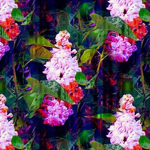 LARGE IMPRESSIONIST LILAC FLOWERS BRIGHT PINK FUCHSIA