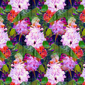 LARGE IMPRESSIONIST LILAC FLOWERS DOUBLE BRIGHT PINK FUCHSIA