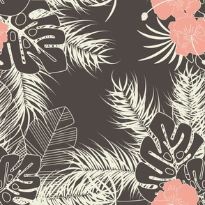 Summer seamless tropical pattern with monstera palm leaves, plants and flowers on brown background
