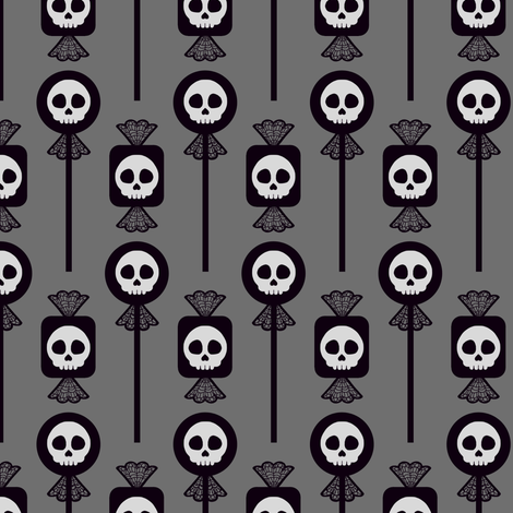 Skull Candy - Gray fabric by siya on Spoonflower - custom fabric