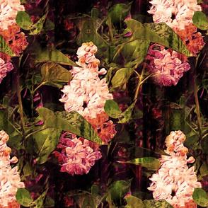 LARGE VINTAGE IMPRESSIONIST LILAC FLOWERS