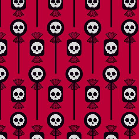 Skull Candy - Red fabric by siya on Spoonflower - custom fabric