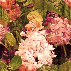 LARGE VINTAGE IMPRESSIONIST LILAC FLOWER DOUBLE
