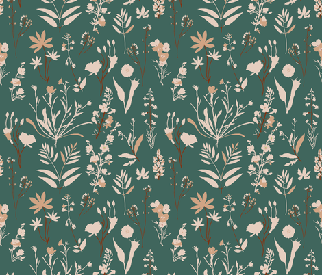 WILDFLOWER_STUDY_TEAL fabric by holli_zollinger on Spoonflower - custom fabric