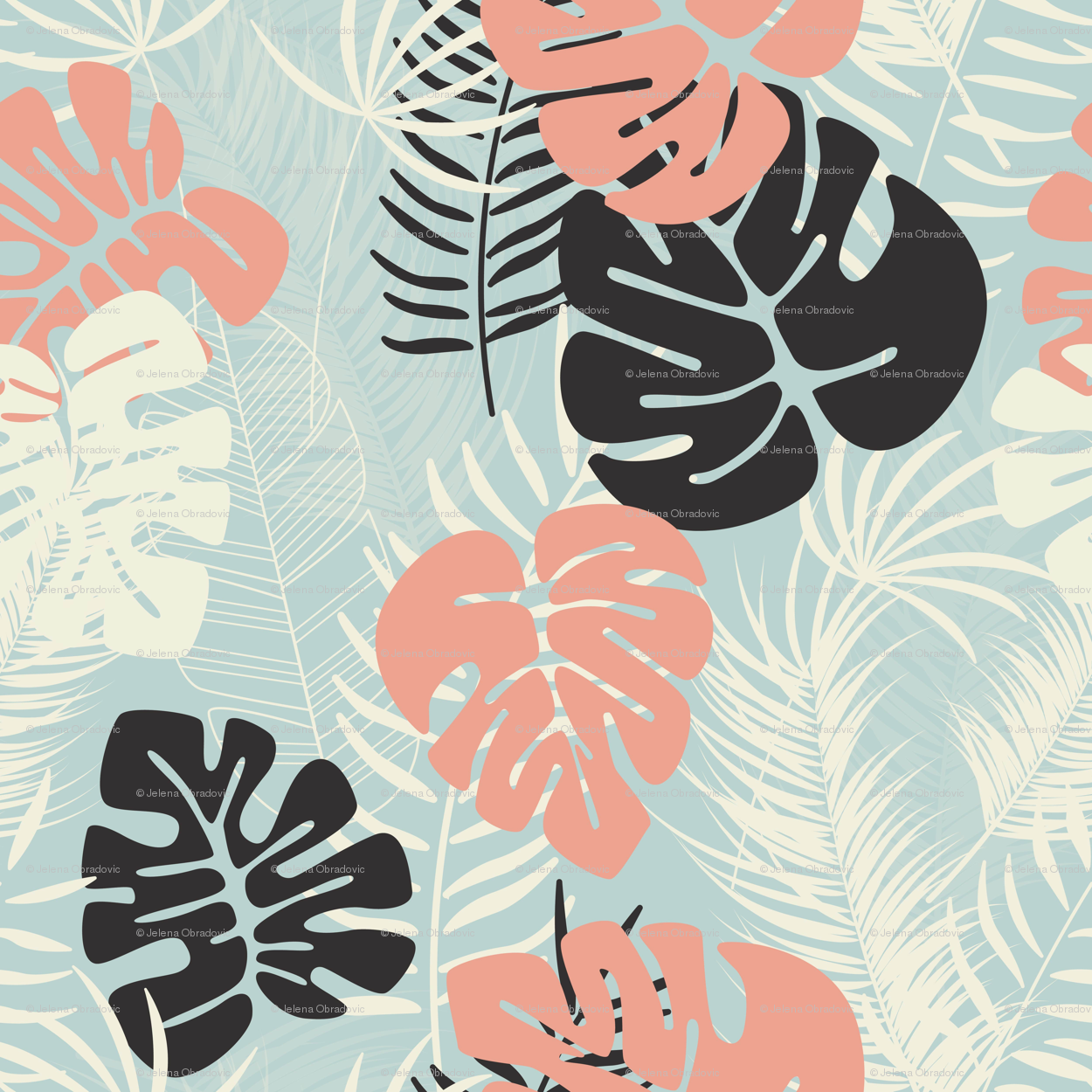 ed9bee1f3 Summer seamless tropical pattern with colorful monstera palm leaves and  plants on blue background wallpaper - bluelela - Spoonflower