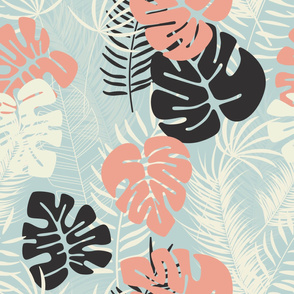Summer seamless tropical pattern with colorful monstera palm leaves and plants on blue background