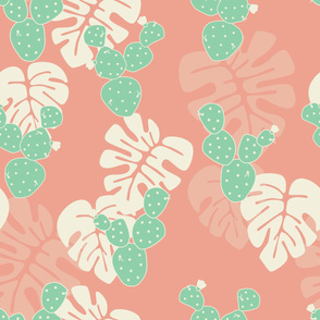 Seamless tropical pattern with monstera palm leaves, and cactus on pink background