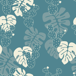 Seamless tropical pattern with monstera palm leaves, and cactus on blue background