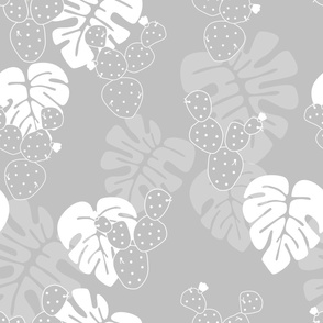 Seamless tropical pattern with monstera palm leaves, and cactus on gray background