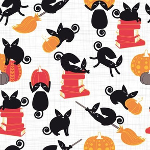 Busy Halloween Black Cats // white background black kitties orange red yellow black & white cute pumpkins & books