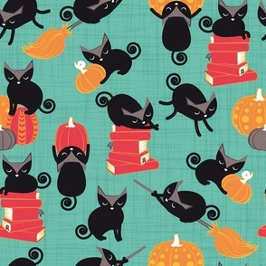 Busy Halloween Black Cats // mint green background black kitties orange red yellow black & white cute pumpkins & books