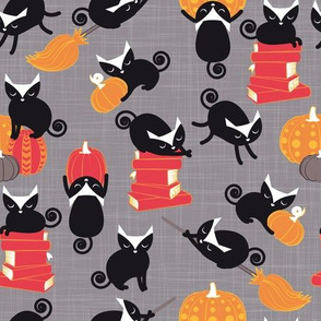 Busy Halloween Black Cats // grey background black kitties orange red yellow black & white cute pumpkins & books