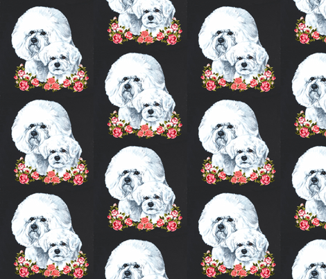 Bichons with flowers on black fabric by bow_lady_design on Spoonflower - custom fabric