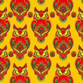 owl paisley gold and red