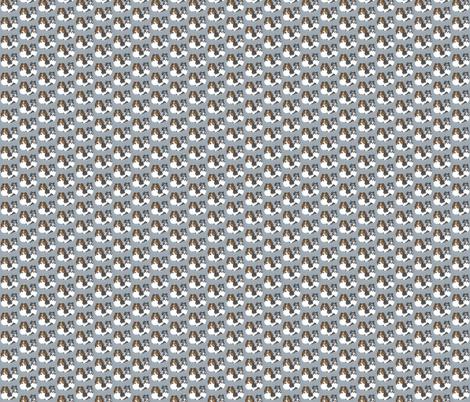 Shetland sheepdog portraits on blue-grey fabric by bow_lady_design on Spoonflower - custom fabric