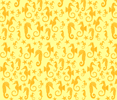 Sea Dream - Goldmarine - Seahorses fabric by de-ann_black on Spoonflower - custom fabric