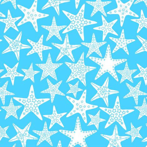 Sea Dream - Aquamarine - Starfish fabric by de-ann_black on Spoonflower - custom fabric