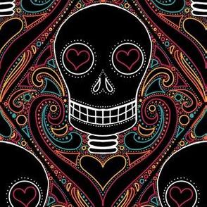 Skull diamond Halloween damask