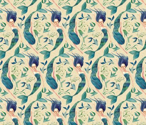 Mermaid Swim {Linen} fabric by ceciliamok on Spoonflower - custom fabric