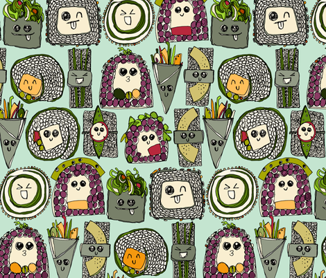 veggie sushi mint fabric by scrummy on Spoonflower - custom fabric