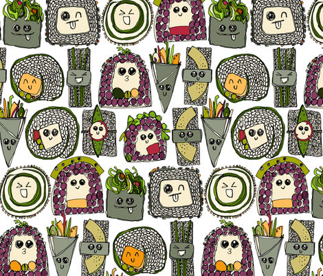 veggie sushi white fabric by scrummy on Spoonflower - custom fabric