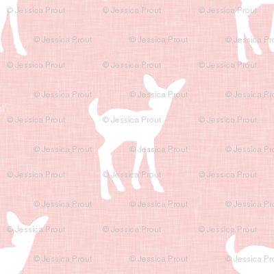 fawn on pink linen
