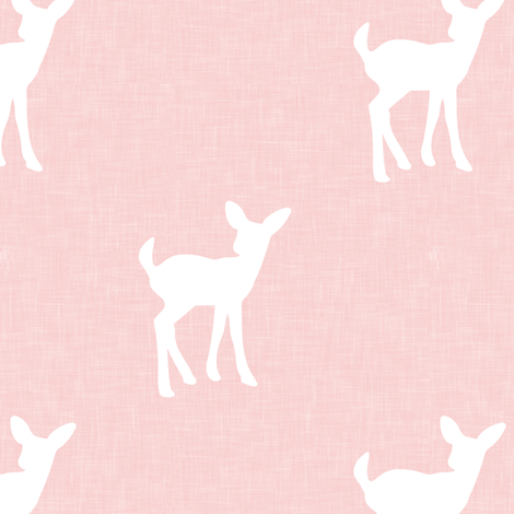 fawn on pink linen fabric by littlearrowdesign on Spoonflower - custom fabric