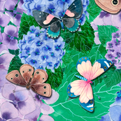 Hydrangeas and butterflies
