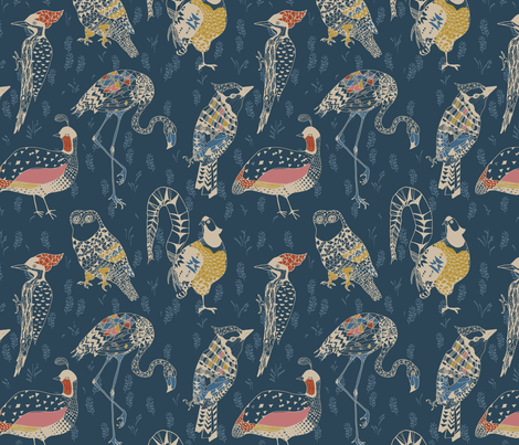 Geo birds LARGE (folksy navy) fabric by nouveau_bohemian on Spoonflower - custom fabric