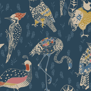 Geo birds LARGE (folksy navy)
