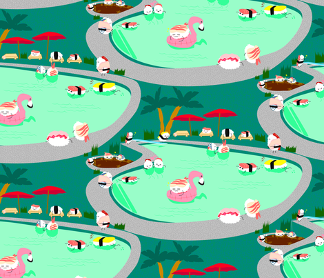 Kawaii_Sushi_Pool_Party fabric by mrsmarty on Spoonflower - custom fabric