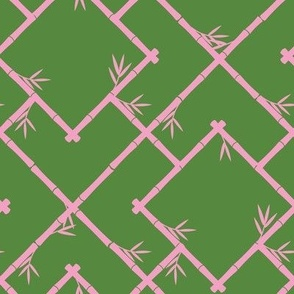 Bamboo Chinoiserie Lattice in Grass Green + Light Pink