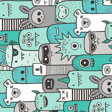 Monsters and Friends Mint Green Rotated fabric by caja_design on Spoonflower - custom fabric