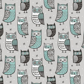 Owls  Owl Woodland Fall Winter Black&White Green on Grey Smaller
