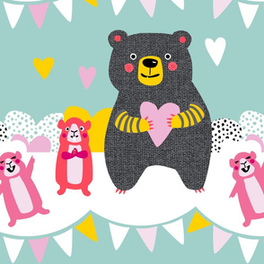 Bear and Guinea Pigs // party bunting fun kids design retro bold love hearts spots modern