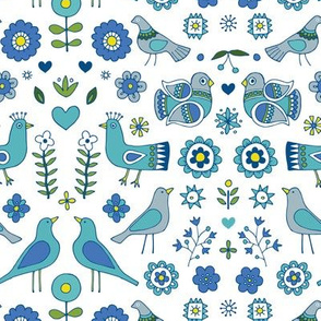 Scandi Folk Birds - Blue & white, Medium-Small