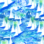 Sailboat Regatta Blue watercolor fabric