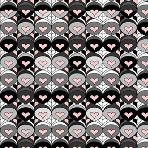 Black, White, and Gray Hearts