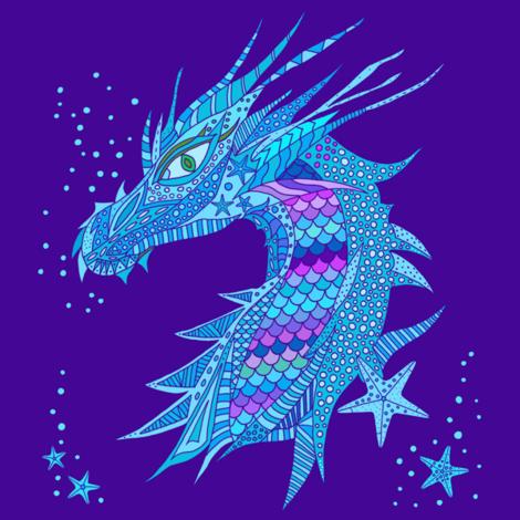Sea Dream - Ultramarine - Sea Dragon Blue fabric by de-ann_black on Spoonflower - custom fabric