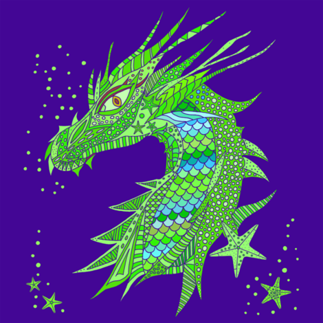 Sea Dream - Ultramarine - Sea Dragon Green fabric by de-ann_black on Spoonflower - custom fabric