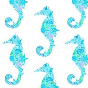 Sea Dream - Aquamarine - Seahorses White