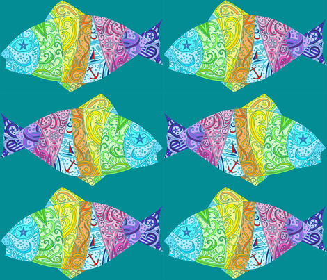 Sea Dream - Greenmarine - Dream Fish fabric by de-ann_black on Spoonflower - custom fabric